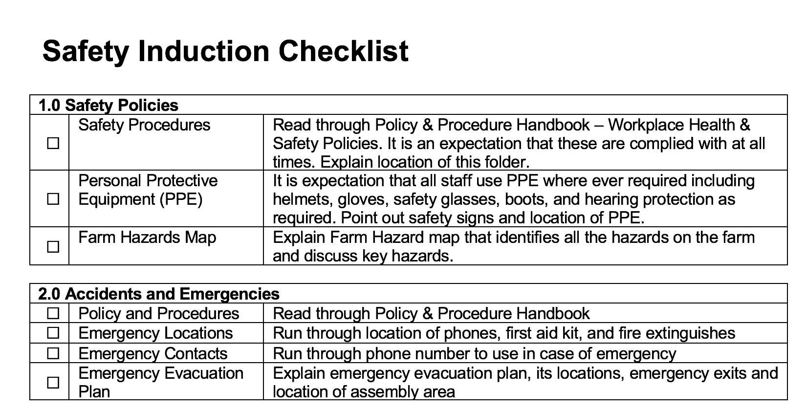 Safety Induction Check List